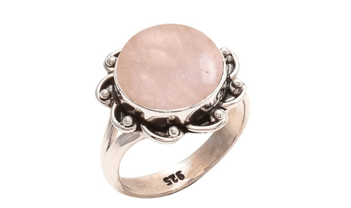 925 Sterling Silver Rose Quartz Ring - Pink Stone Gemstone Ring For Girl Women Gift Ring Size