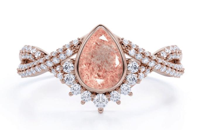 Antique Pear Cut Pink Quartz Ring, Vintage Engagement Ring, Rose Gold Strawberry Quartz Ring, Unique Statement Ring, Women Valentine Gift