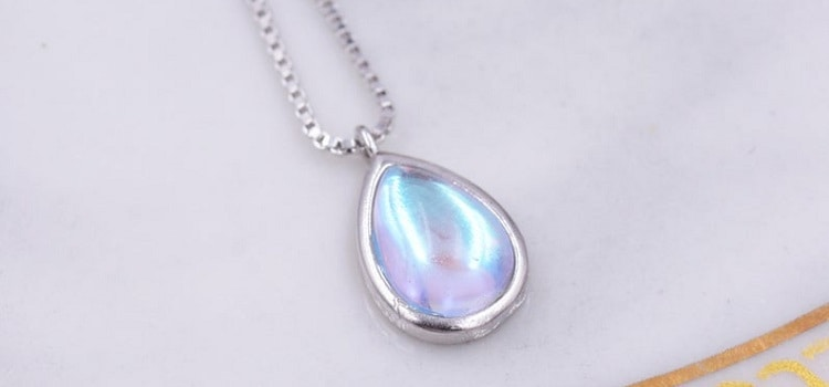 Aurora Moonstone Pendant Necklace in Sterling Silver, Pear-Cut Aurora Crystal Droplet, Simulated Moonstone Necklace, Color Changing Crystal