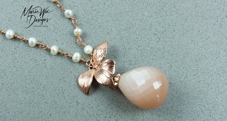 Chatoyant Peach Moonstone-Fresh Water Pearls-Blossom-Floral-Rose Gold Pendant Adjustable Necklace