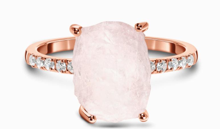 Rose Quartz and White Topaz Raw Crystal Ring