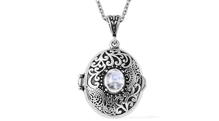 SHOP LC DELIVERING JOY Stainless Steel Oval White Moonstone Locket Necklace Pendant 24