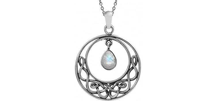 Silvershake Natural Moonstone 925 Sterling Silver Celtic Knot Drop Dangle