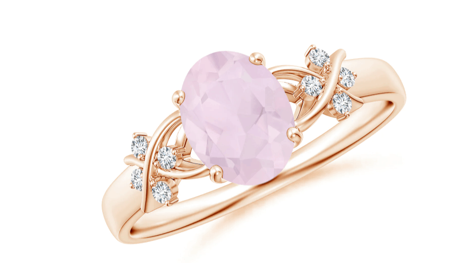 Solitaire Oval Rose Quartz Criss Cross Ring with Diamonds
