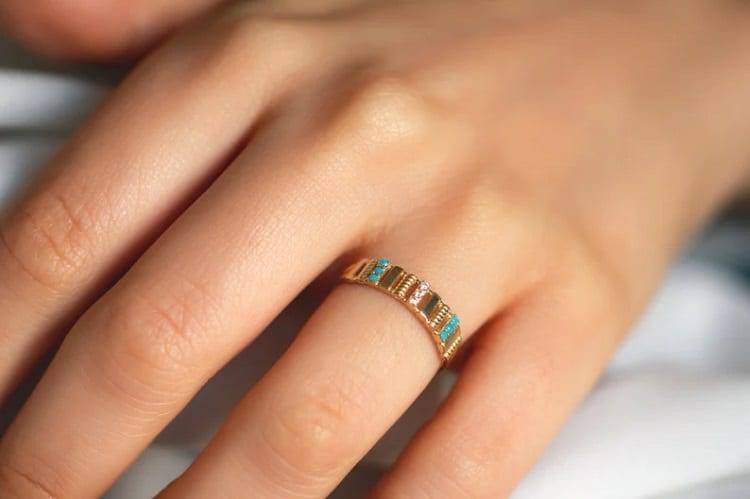 14K Gold Turquoise Promise Ring