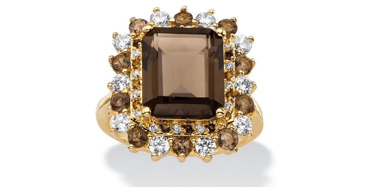 9.62 TCW Emerald-Cut Genuine Smoky Topaz And CZ Accent Halo Cocktail Ring Gold-Plated
