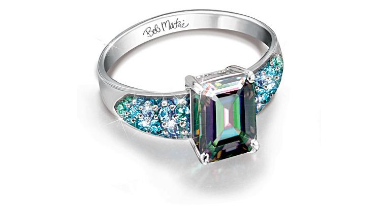 Bob Mackie 3-Carat Mystic Topaz Ring With Simulated Diamonds