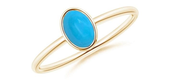 Classic Bezel-Set Oval Turquoise Ring