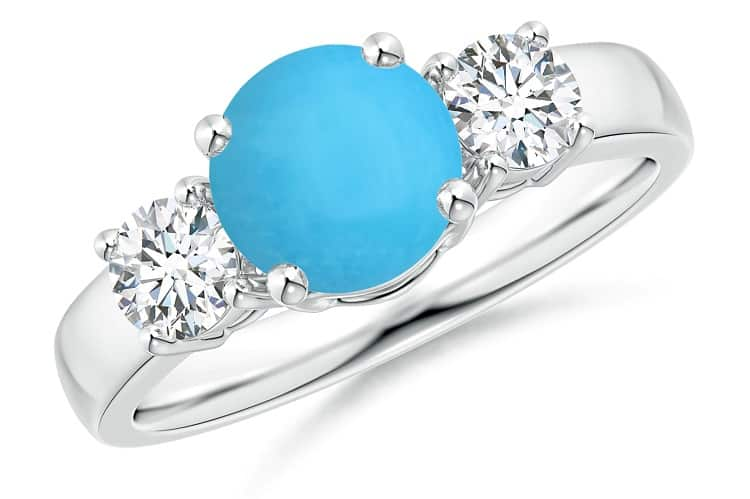 Classic Turquoise and Diamond Three Stone Engagement Ring