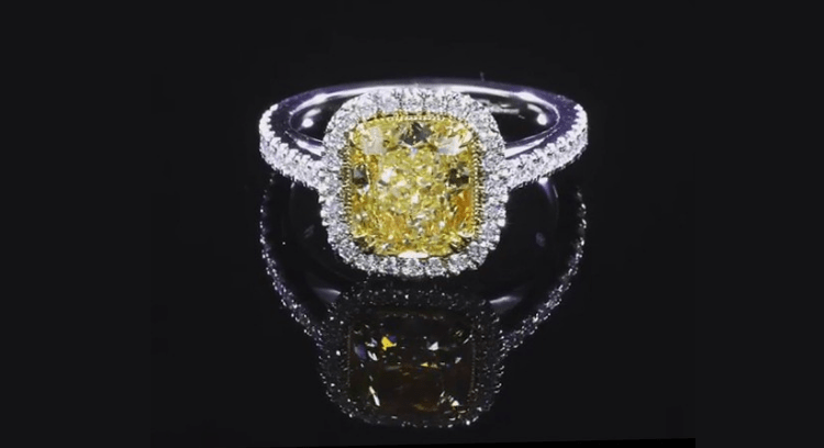 Cushion-Cut Yellow Topaz 925 Sterling Silver Halo Engagement Rings