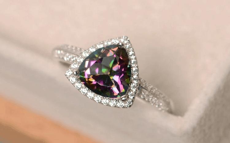 Luo Jewelry- Mystic Topaz Ring, Triangle Cut, Rainbow Topaz, Gemstone