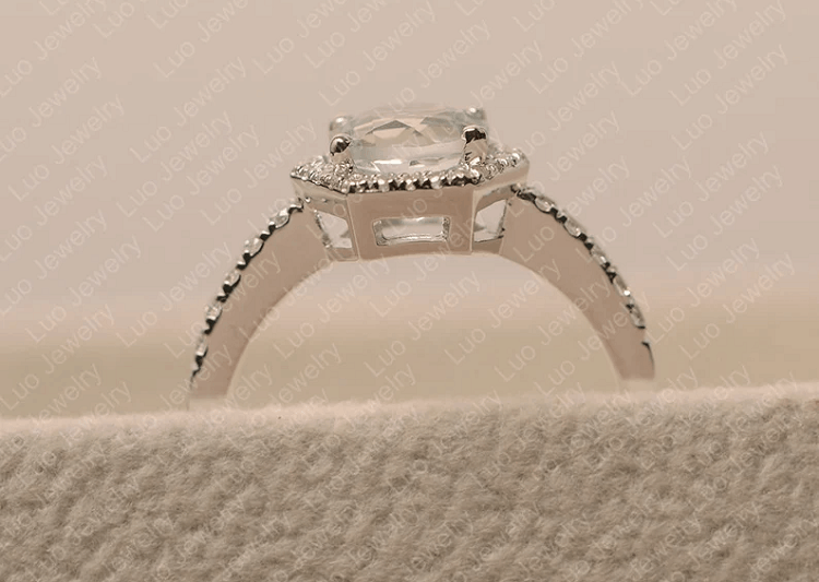 Luo Jewelry- White Topaz Wedding Ring, Round Cut, Sterling Silver Halo Engagement Ring