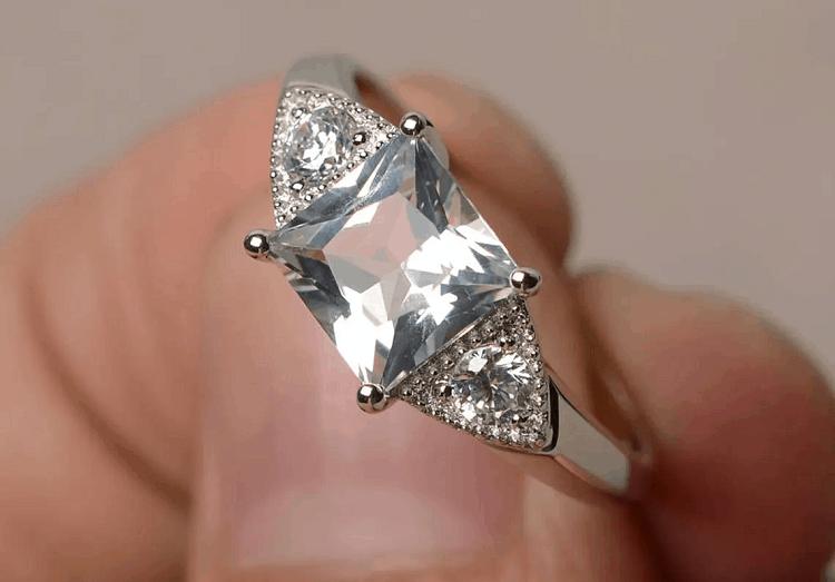 Natural White Topaz Ring Princess Cut Wedding Ring Gemstone Sterling Silver Ring