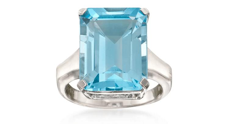Ross-Simons- 14.00 Carat Blue Topaz Ring in Sterling Silver