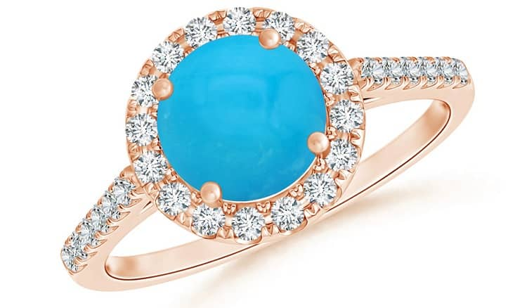 Round Turquoise Halo Ring with Diamond Accents