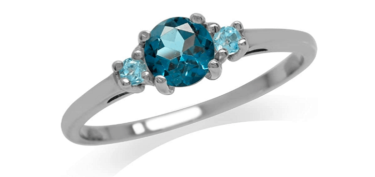 Silvershake Petite Genuine London Blue and Swiss Blue Topaz White Gold Plated 925 Sterling Silver Ring