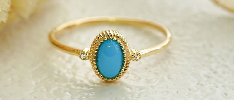 Solid Gold Boho Turquoise Ring
