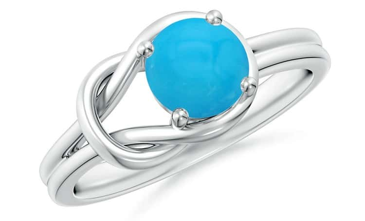 Solitaire Turquoise Infinity Knot Ring