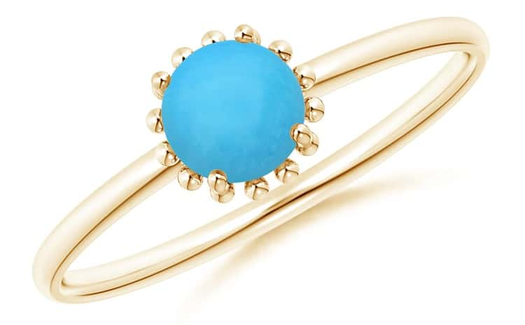 Solitaire Turquoise Ring with Beaded Halo