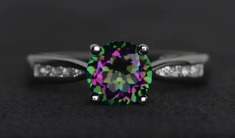 XiaoCuiJewelry Mystic Topaz Ring Round Cut Rainbow Topaz Sterling Silver Engagement Ring