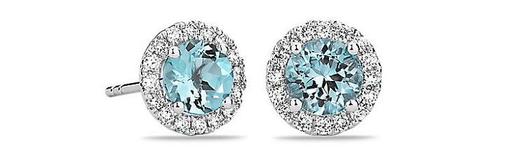 Aquamarine and Micropavé Diamond Stud Earrings